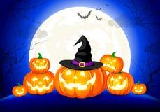 Halloween-pompoenen, maan en donker kasteel op blauwe achtergrond vector illustratie