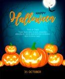 Halloween-pompoenen, maan en donker kasteel op groene achtergrond vector illustratie