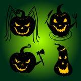 Halloween-Pompoenen met enge gezichten Jackolanterns stock illustratie
