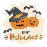 Halloween-pompoenen met heksenhoed en inschrijving Gelukkig Halloween Vector illustratie Stock Fotografie
