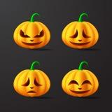 Halloween-Pompoenen met verschillende gelaatsuitdrukkingenillustratie Vector royalty-vrije illustratie