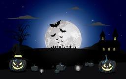 Halloween-pompoenen onder de maanlicht vectorillustratie Royalty-vrije Stock Foto