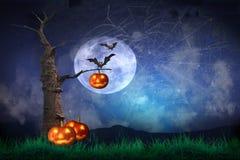 Halloween-Pompoenen op hout royalty-vrije illustratie