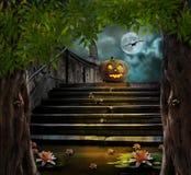 Halloween-pompoenen in werf van van de oude nacht van de steentrap Stock Afbeeldingen