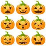 Halloween-Pompoeneninzameling Stock Afbeeldingen