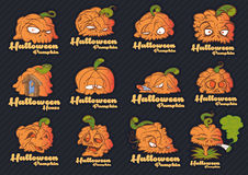 Halloween-pompoengezichten Royalty-vrije Stock Foto's