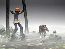 Halloween, pompoenhefboom met vrienden. vector illustratie