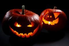 Halloween-pompoenhoofden Royalty-vrije Stock Afbeeldingen
