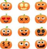 Halloween-pompoenkarakters Stock Fotografie