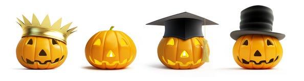Halloween-pompoenkroon op een witte 3D illustratie als achtergrond, Royalty-vrije Stock Afbeelding
