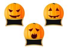 Halloween-pompoenpictogrammen Stock Afbeeldingen