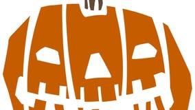 Halloween-pompoensprong De animatie van de beeldverhaalpompoen stock videobeelden