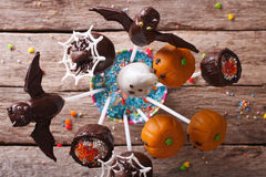 Halloween pop cakes on a table close-up. horizontal top view Stock Photography