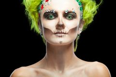 Halloween. Portrait Of Young Beautiful Girl With Make-up Skeleton On Her Face. And Green Hair. Isolated On Black Stock Photos