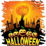 Halloween-post met pompoenen vector illustratie