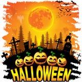 Halloween-post met pompoenen stock illustratie