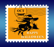 Halloween Postage. Stamp with date Stock Image