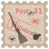 Halloween, postage stamp, vintage style Royalty Free Stock Images