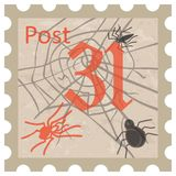 Halloween, postage stamp, vintage style Stock Photography