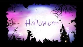 Halloween, postal, ejemplo creativo del vector del fondo del extracto del marco de la bandera del cartel de la fantasía de la sil stock de ilustración