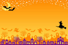 Halloween postcard. Street, grave and starlit sky Stock Images