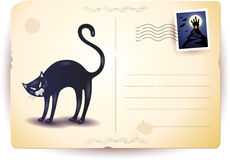Halloween postcard with black cat Royalty Free Stock Photography