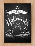 Halloween postcard chalked design. Halloween postcard black and white chalked design with black cat and pumpkins on wood background vector illustration
