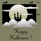 Halloween postcard with castle and full moon Stock Photos