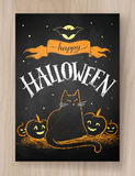 Halloween postcard color chalked design Stock Images