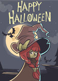 Halloween postcard with cute witch in a big hat on a full moon night. Vector illustration Royalty Free Stock Image