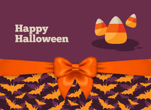 Halloween Postcard Design with Candy Corn Stock Images