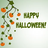 Halloween postcard with pumpkins. Halloween postcard green background with pumpkins and inscription Happy Halloween. Vector illustration Royalty Free Stock Image