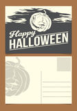 Halloween postcard. Template. Front and back sides Stock Photo