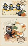 Halloween postcards Stock Images