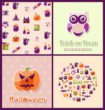Halloween Postcards. Set Banners Stock Photography