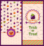 Halloween Postcards. Vertical Banners Royalty Free Stock Images