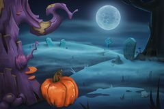 Free Halloween Poster Background. Spooky Landscape With Tree, Pumpkin And Moon Royalty Free Stock Photos - 153590428