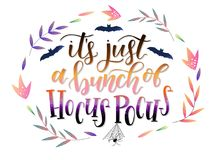 Calligraphy art poster/banner for Halloween `it`s just a bunch of Hocus Pokus` royalty free illustration
