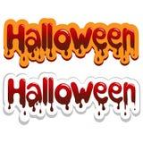 Halloween poster. Bloody inscription illustration. Happy Halloween poster. Bloody inscription Vector illustration Stock Photo