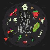 Halloween poster with bugs and hisses and scary characters vector illustration