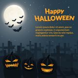 Burning lanterns from carved pumpkins. Halloween poster. Burning lanterns from carved pumpkins on the background of the cemetery, crosses and tombstones. Bats royalty free illustration