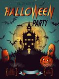 Halloween poster, card, background. Halloween Party Invitation with haunted castle, bat, moon, and other items on Halloween theme. Happy Halloween Poster Royalty Free Stock Image