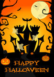 Halloween poster with castle, ghosts, pumpkin, trees, bats Stock Photo