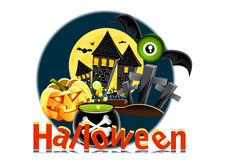 Halloween poster. With castle, pumpkin etc Stock Image