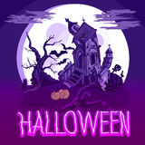 Halloween poster with castle, tree and zombie. Vector illustration Stock Illustration