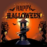 Halloween Poster. Celebratory background. Colored Vector illustration Royalty Free Stock Image