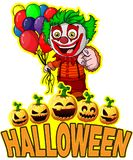 Halloween Poster with clown holding balloons. File in layers and editable. All objects are drawn separately Royalty Free Stock Images