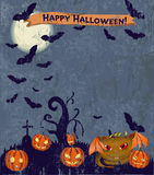 Halloween poster with cute monster. Stock Photo