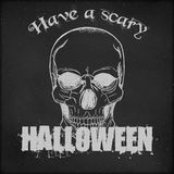 Halloween poster design - Hand drawn Skull. Hand drawn vintage sketch on blackboard for Halloween - Hand Drawn Skull Royalty Free Stock Photography