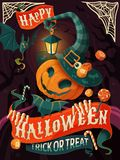 Halloween poster design. Pumpkin man with witch hat and cloak, Halloween party or greeting card stock illustration